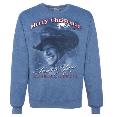 George Strait Heather Blue Christmas Sweatshirt