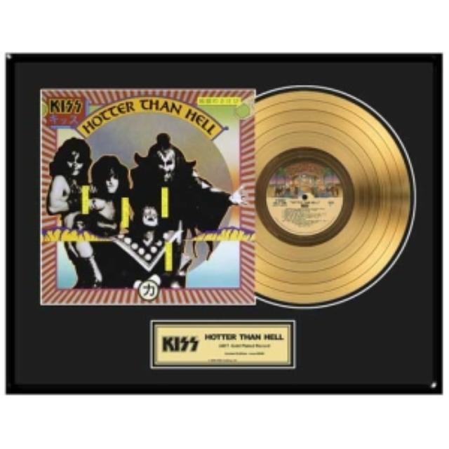 Kiss Hotter Than Hell Framed Gold LP (Vinyl)