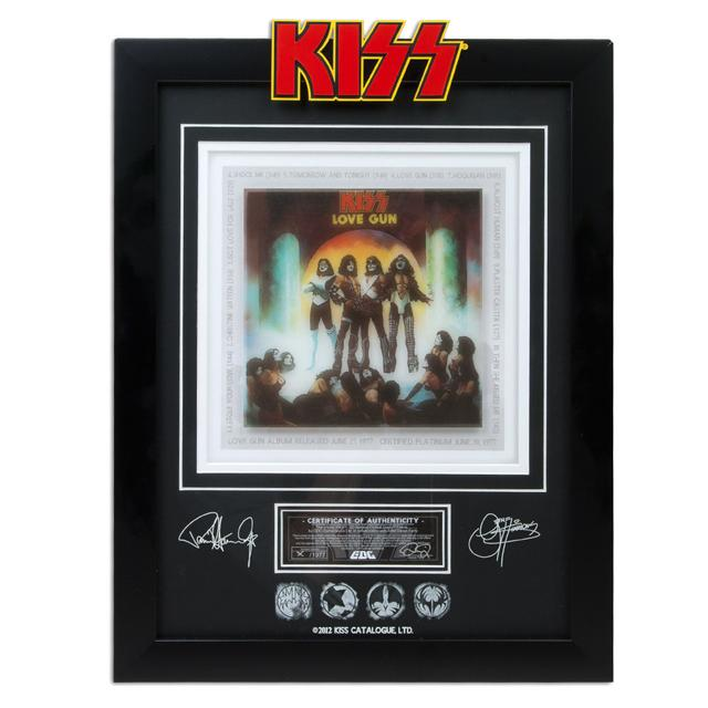 Collectible Framed KISS Love Gun 3D Archival Etched Glass