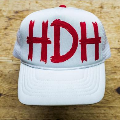 High Dive Heart Hand Painted White Trucker Hat- HDH Logo