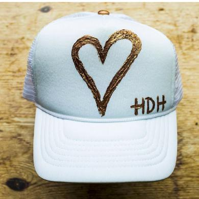 High Dive Heart Hand Painted White Trucker Hat- Gold Heart