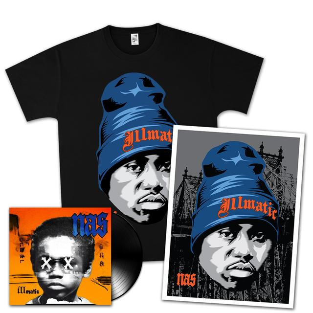 Nas Illmatic XX 20th Anniversary T-Shirt, Unsigned Litho, & Vinyl Bundle