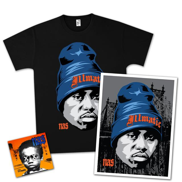 Nas Illmatic XX 20th Anniversary T-Shirt, SIGNED Litho, & CD Bundle