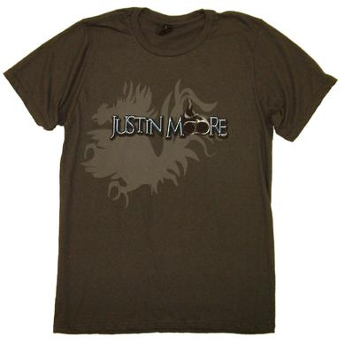 Justin Moore Charcoal Tee- Lettin' the Night Roll Lyric Tee