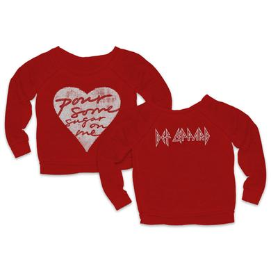 Def Leppard Pour Some Sugar On Me Red Ladies Crewneck Sweat