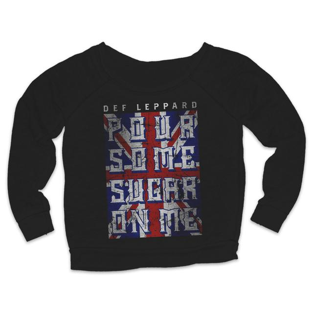 Def Leppard Pour Some Sugar On Me Flag Ladies Crewneck Sweat