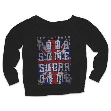 Def Leppard Pour Some Sugar On Me Flag Ladies Crewneck Sweat