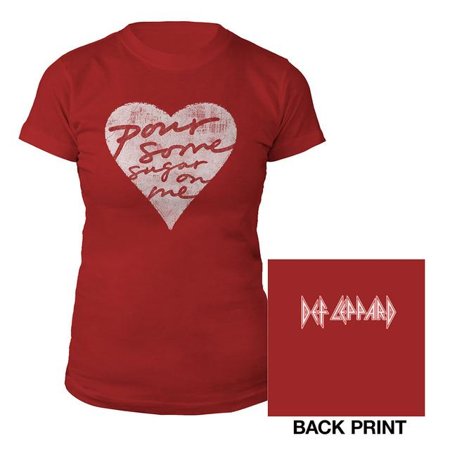 Def Leppard Pour Some Sugar On Me Red Ladies Tee