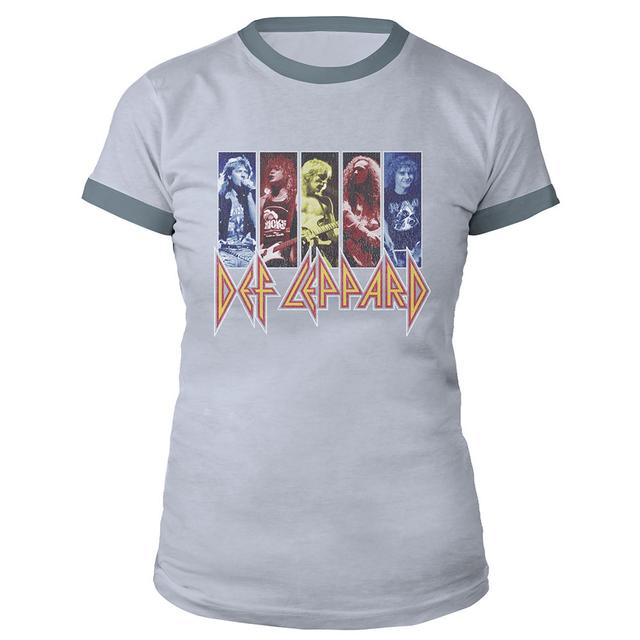 Def Leppard Vintage Band Shots Ladies Ringer Tee