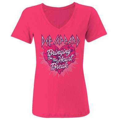 Def Leppard Bringing On The Heartbreak Ladies V-Neck Tee