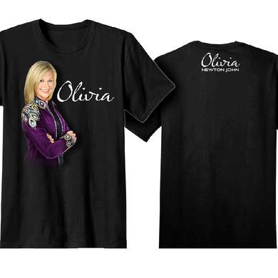 Olivia Newton-John Black Tee- Purple Jacket