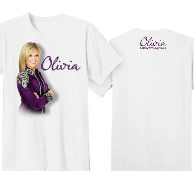 Olivia Newton John Olivia Newton-John White Tee- Purple Jacket