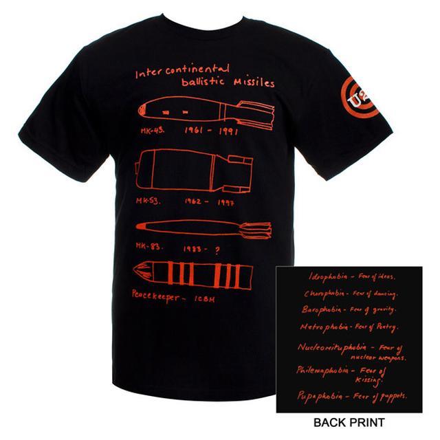 U2 Black Intercontinental Ballistic Missile T-shirt