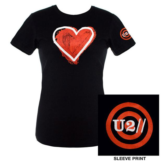U2 Ladies Black Heart Logo Babydoll Shirt