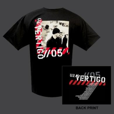 U2 Mens Black Vertigo '05 Photo Shirt with Tour Dates
