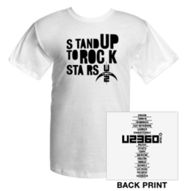 U2 Stand Up To Rock Stars T-Shirt With US Tour Dates