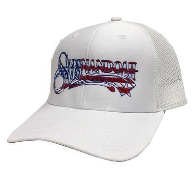 Shenandoah White Ballcap w/ American Flag Font Shenandoah