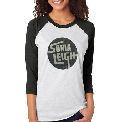 Sonia Leigh Heather White and Black Baseball Tee