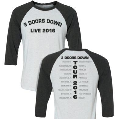 3 Doors Down Vintage Black and Heather White Raglan Tee