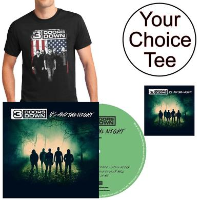 3 Doors Down Tee with Us and the Night Vinyl and CD