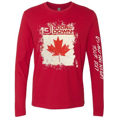 3 Doors Down Long Sleeve Red Canada Tour Tee