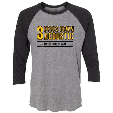 3 Doors Down Heather and Black Raglan Tee