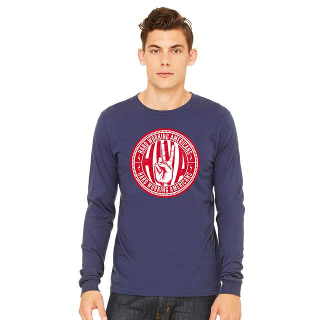 Hard Working Americans Navy Union Logo Long Sleeve Shirt