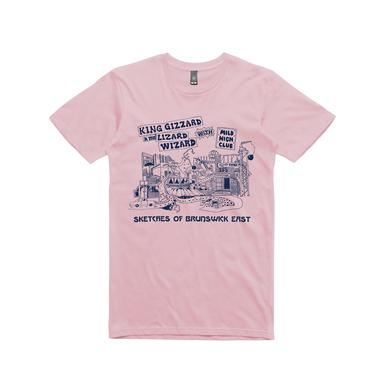King Gizzard & The Lizard Wizard Sketches Of Brunswick / Pink T-shirt