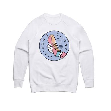 Client Liaison Phone / White Crew Sweater