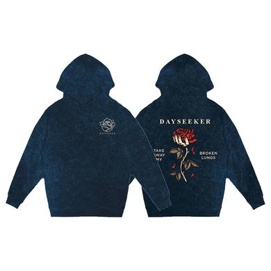 DAYSEEKER - Broken Lungs Blue Acid Wash Hoodie