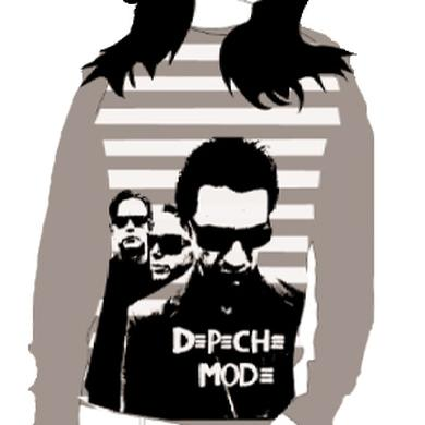 Depeche Mode - Ladies Long Sleeve Grey Stripes T-Shirt