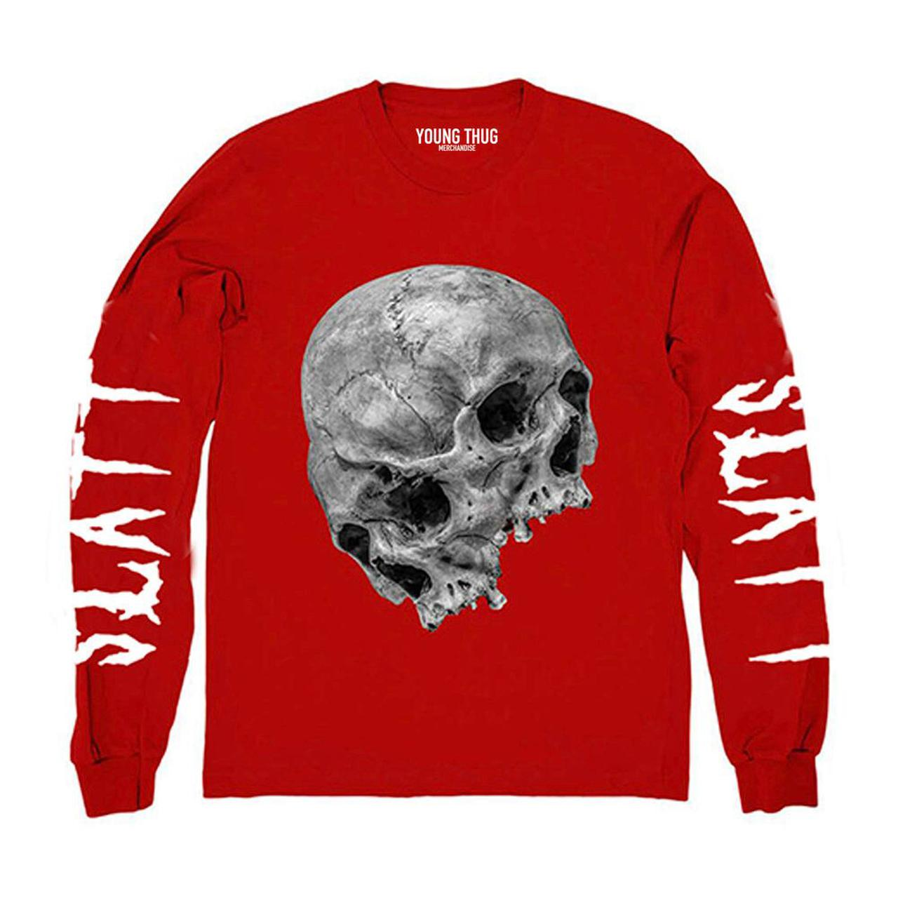 young thug thugger skull red long sleeve t
