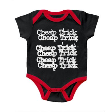 """Cheap Trick """"Stacked Logo"""" Black and Red Onesie"""