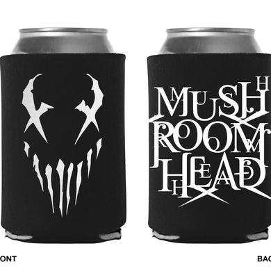 "Mushroomhead ""X-Face / Stacked Logo"" black koozie with 2 sided white print"
