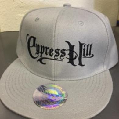 "Cypress Hill ""Script Logo"" Lite Grey Snap Back Baseball hat"