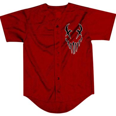 "Mushroomhead ""X Face/43"" red baseball jersey"