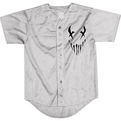 "Mushroomhead ""X Face/43"" lite grey baseball jersey"
