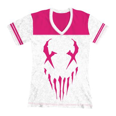 "Mushroomhead ""X-Face"" women's pink football t-shirt"