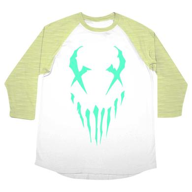 "Mushroomhead ""X-Face"" women's 3/4 sleeve raglan with green print"