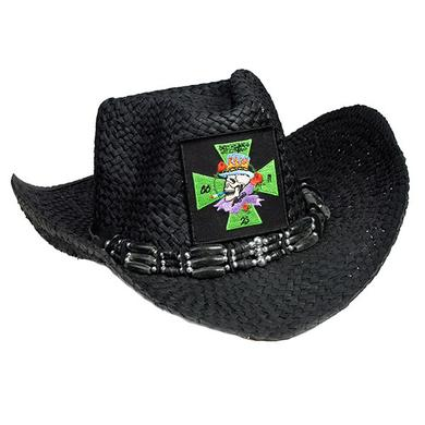 Poison Embroidered Patch Black Cowboy Hat