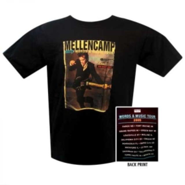 John Mellencamp Words and Music Tour T-Shirt with Summer 2005 Itinerary