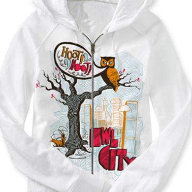 Owl City Lightweight Hoot Hoot Zip Up Hoodie (White)