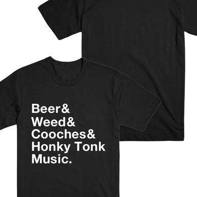 Wheeler Walker Jr Beer Weed Cooches Tee (Black)