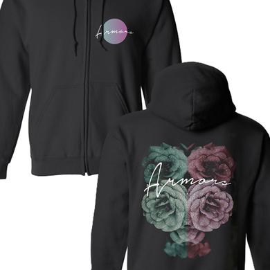 Armors Rose Zip Up Hoodie (Black)
