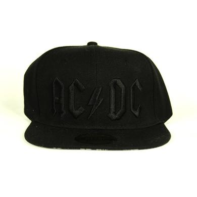 AC/DC Back In Black On Black 3D Logo Snapback Hat