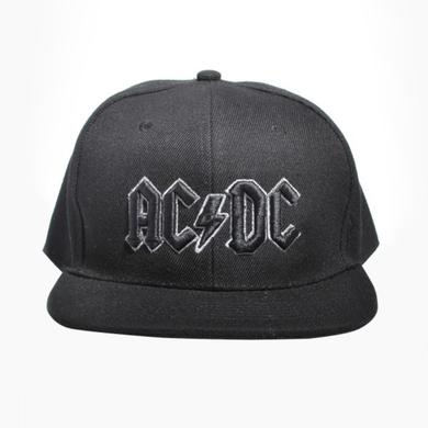 AC/DC Grey Outline 3D Logo Snapback Baseball Hat