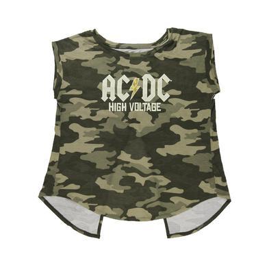 AC/DC Women's Open Back High Voltage Camo Top