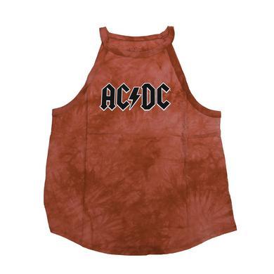 AC/DC Women's Red Tie Dye Logo Tank