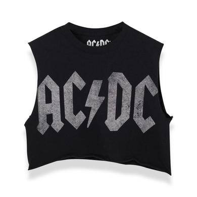 AC/DC ACDC Black Crop Top Logo
