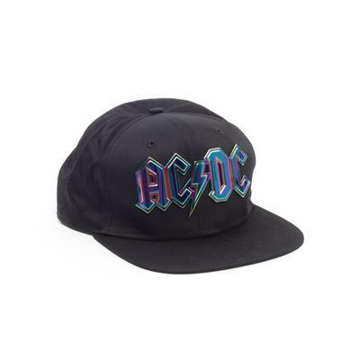 AC/DC Silver Reflective Logo Black Hat